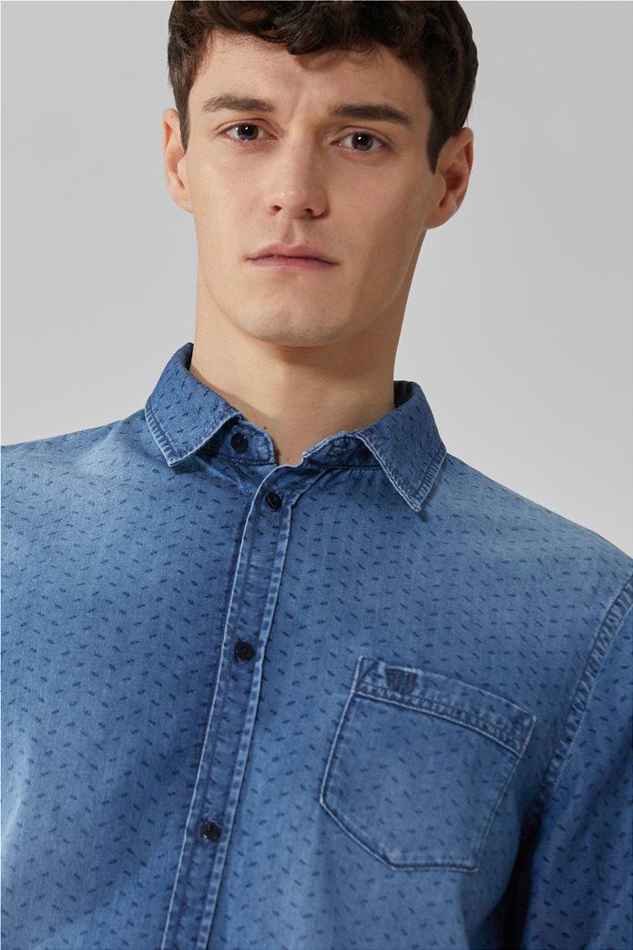 Trussardi ανδρικό denim πουκάμισο με μικρόσχεδιο Μπλε Σκούρο 1