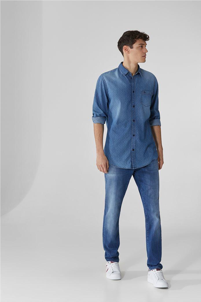 Trussardi ανδρικό denim πουκάμισο με μικρόσχεδιο Μπλε Σκούρο 2