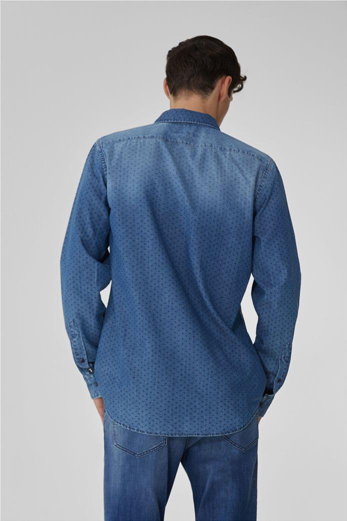 Trussardi ανδρικό denim πουκάμισο με μικρόσχεδιο Μπλε Σκούρο 3