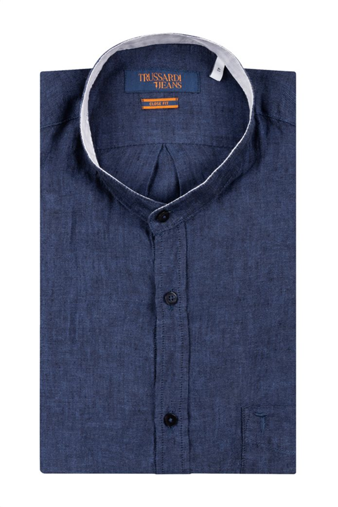 Trussardi Jeans ανδρικό λινό πουκάμισο με μάο γιακά 0