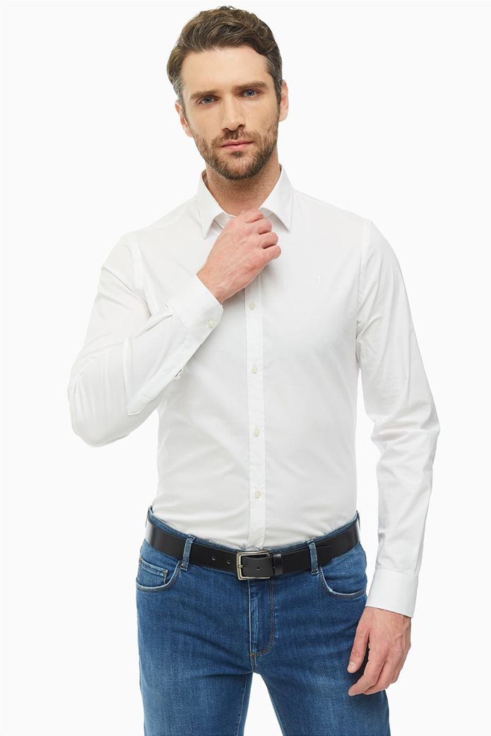 Trussardi Jeans ανδρικό λινό πουκάμισο μονόχρωμο Slim fit Λευκό 0