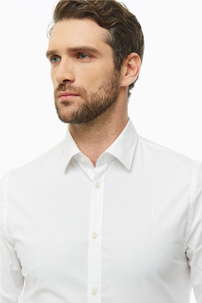 Trussardi Jeans ανδρικό λινό πουκάμισο μονόχρωμο Slim fit Λευκό 1