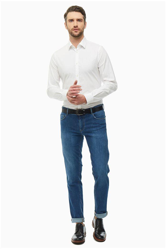 Trussardi Jeans ανδρικό λινό πουκάμισο μονόχρωμο Slim fit Λευκό 2