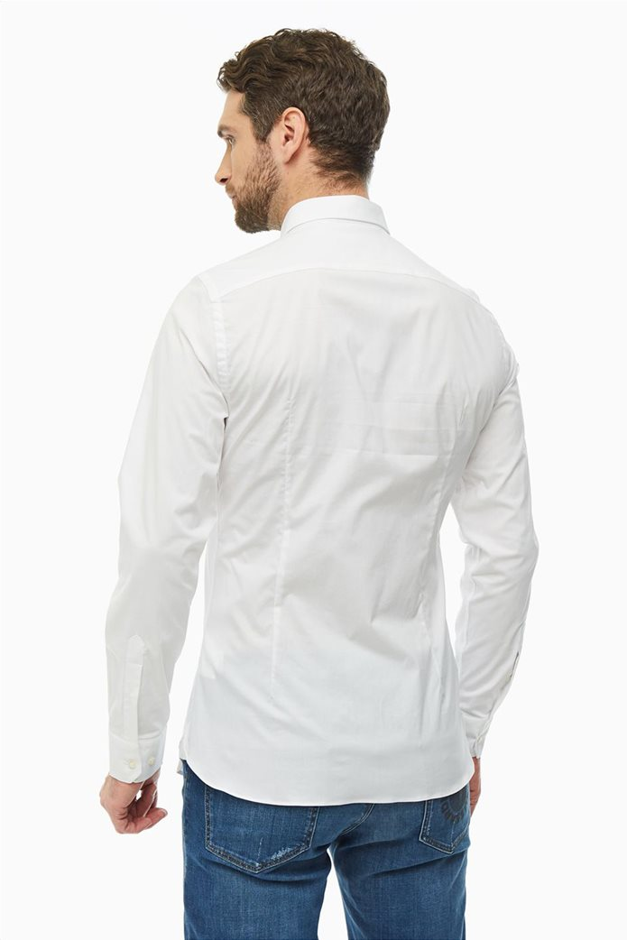 Trussardi Jeans ανδρικό λινό πουκάμισο μονόχρωμο Slim fit Λευκό 3