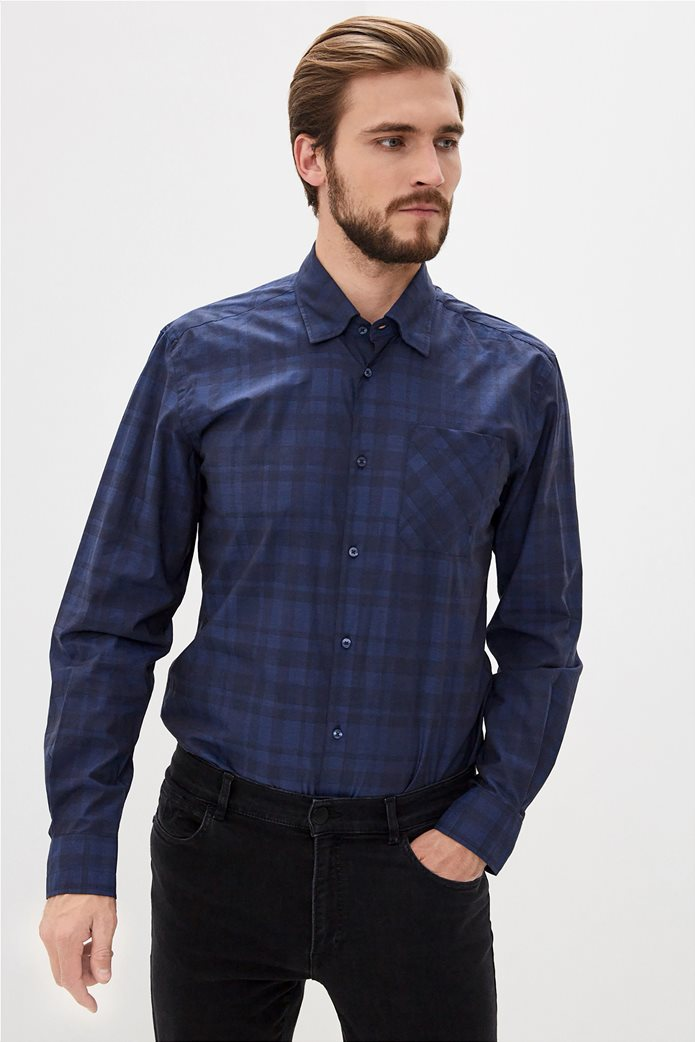 Trussardi Jeans ανδρικό πουκάμισο με καρό σχέδιο Μπλε Σκούρο 0