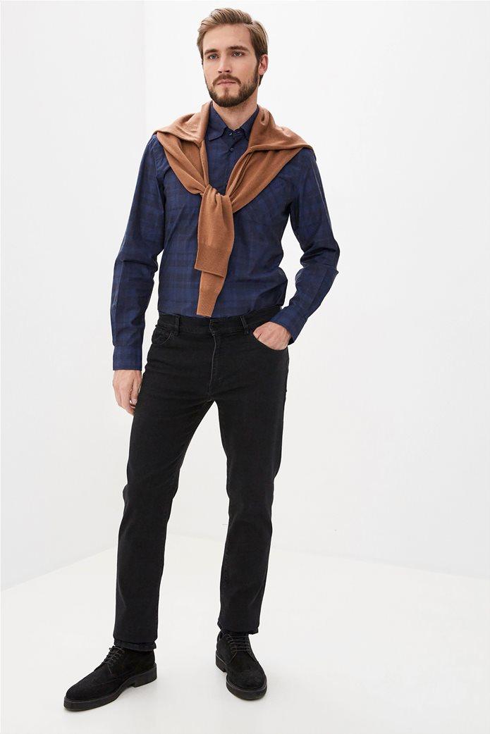 Trussardi Jeans ανδρικό πουκάμισο με καρό σχέδιο Μπλε Σκούρο 1