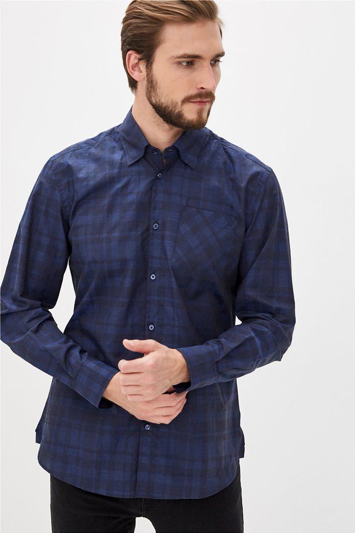 Trussardi Jeans ανδρικό πουκάμισο με καρό σχέδιο Μπλε Σκούρο 2