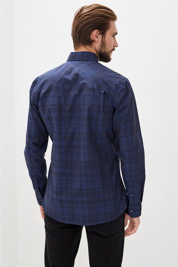 Trussardi Jeans ανδρικό πουκάμισο με καρό σχέδιο Μπλε Σκούρο 3