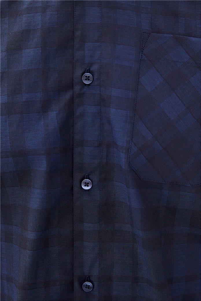 Trussardi Jeans ανδρικό πουκάμισο με καρό σχέδιο Μπλε Σκούρο 4