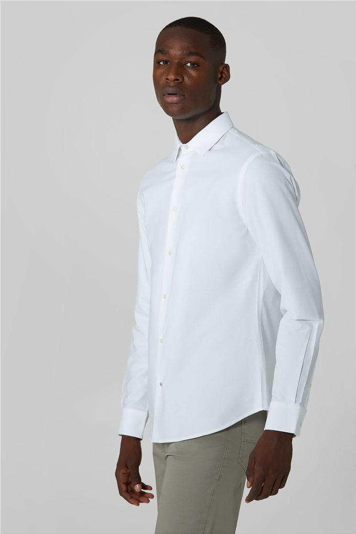 Trussardi Jeans ανδρικό πουκάμισο μονόχρωμο Oxford Λευκό 0