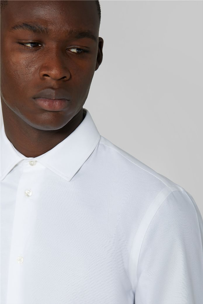 Trussardi Jeans ανδρικό πουκάμισο μονόχρωμο Oxford Λευκό 1