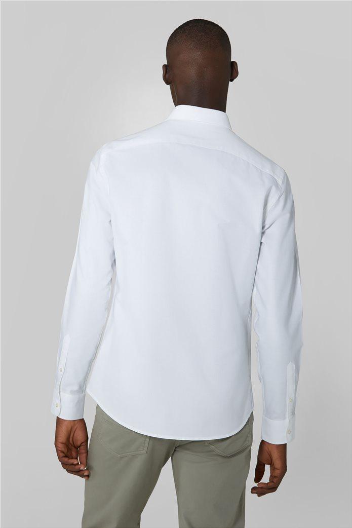Trussardi Jeans ανδρικό πουκάμισο μονόχρωμο Oxford Λευκό 2