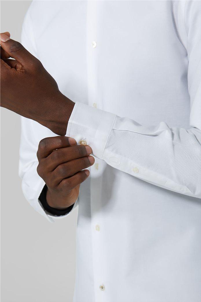Trussardi Jeans ανδρικό πουκάμισο μονόχρωμο Oxford Λευκό 3