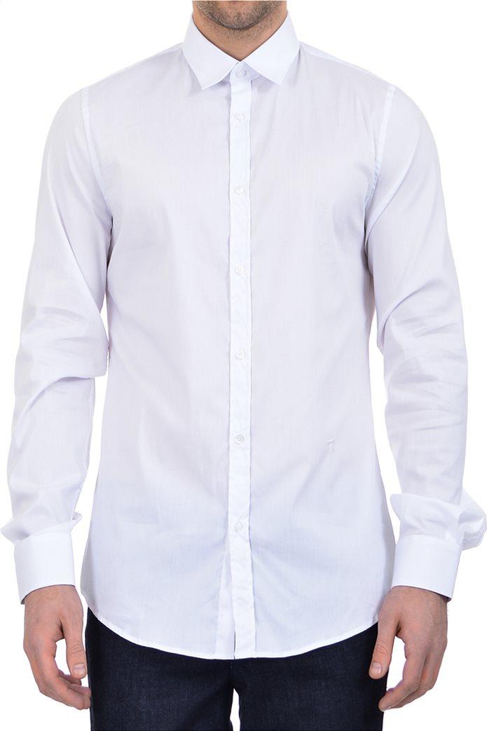 Trussardi ανδρικό πουκάμισο button-up μονόχρωμο Λευκό 0