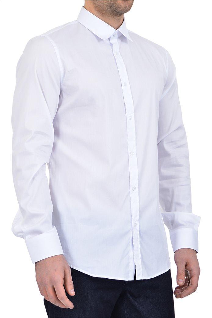 Trussardi ανδρικό πουκάμισο button-up μονόχρωμο Λευκό 1