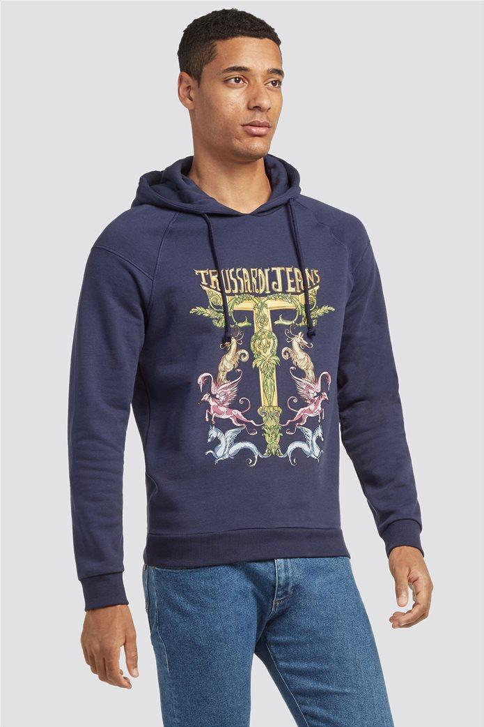 Trussardi Jeans ανδρικό φούτερ με κουκούλα Μaxi fantasy print 0