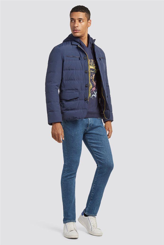 Trussardi Jeans ανδρικό φούτερ με κουκούλα Μaxi fantasy print 1