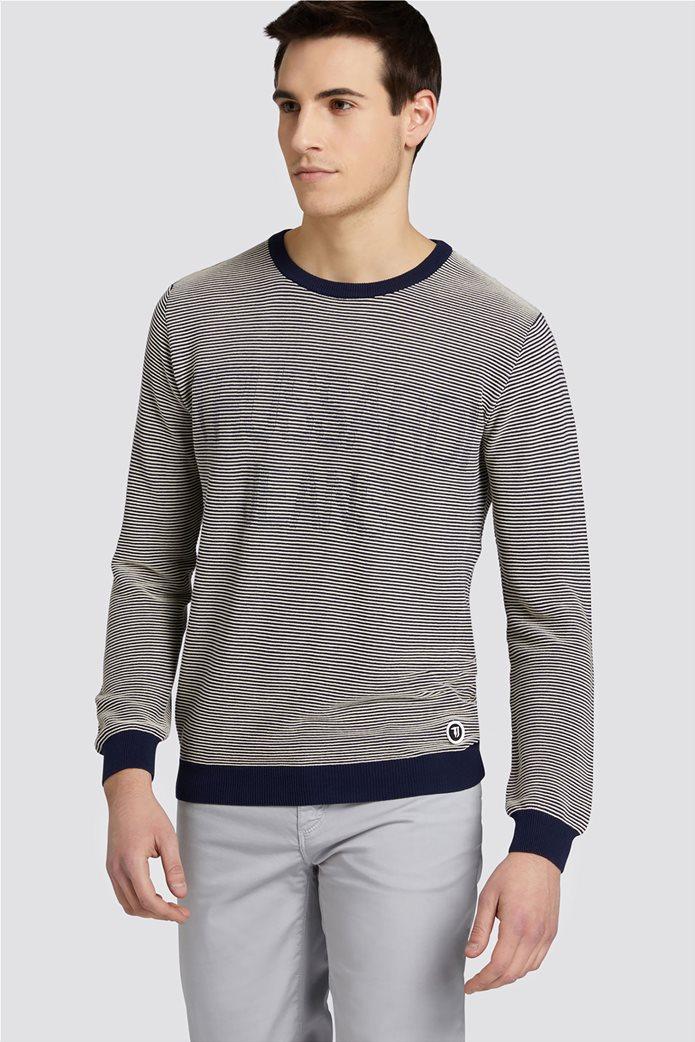 Trussardi Jeans ανδρική μακρυμάνικη μπλεκτή μπλούζα με logo print 0