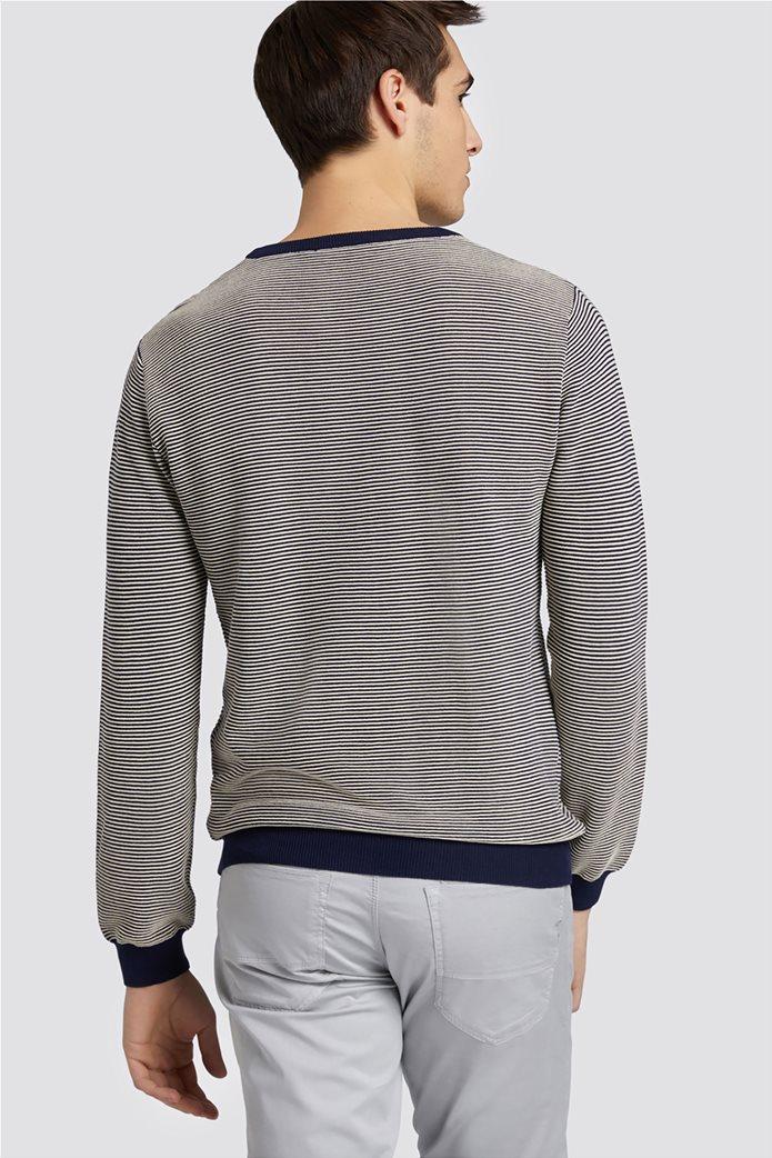 Trussardi Jeans ανδρική μακρυμάνικη μπλεκτή μπλούζα με logo print 1
