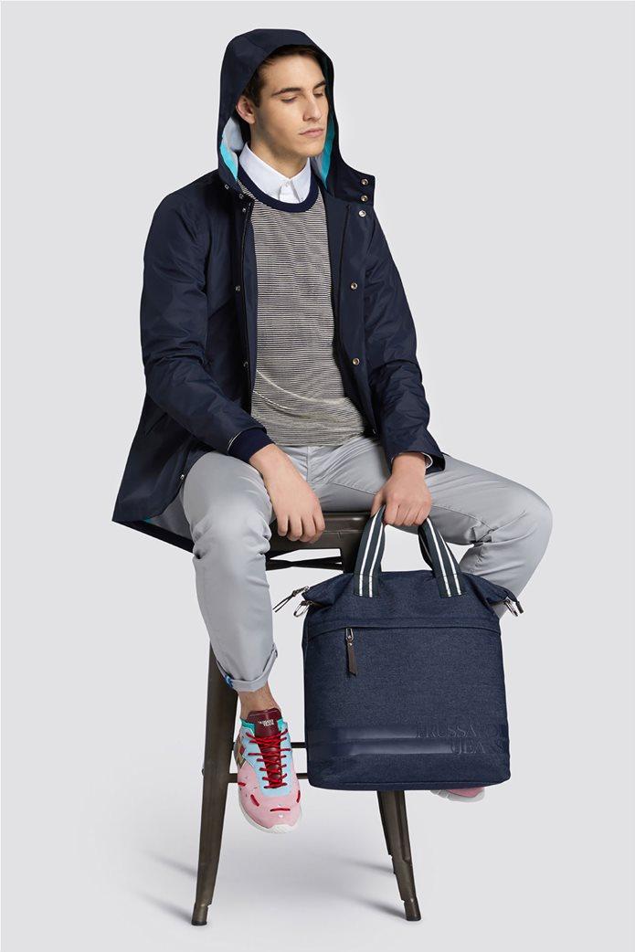 Trussardi Jeans ανδρική μακρυμάνικη μπλεκτή μπλούζα με logo print 2