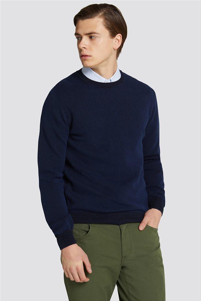 Trussardi Jeans ανδρική μακρυμάνικη μπλεκτή μπλούζα με ανάγλυφη πλέξη 0