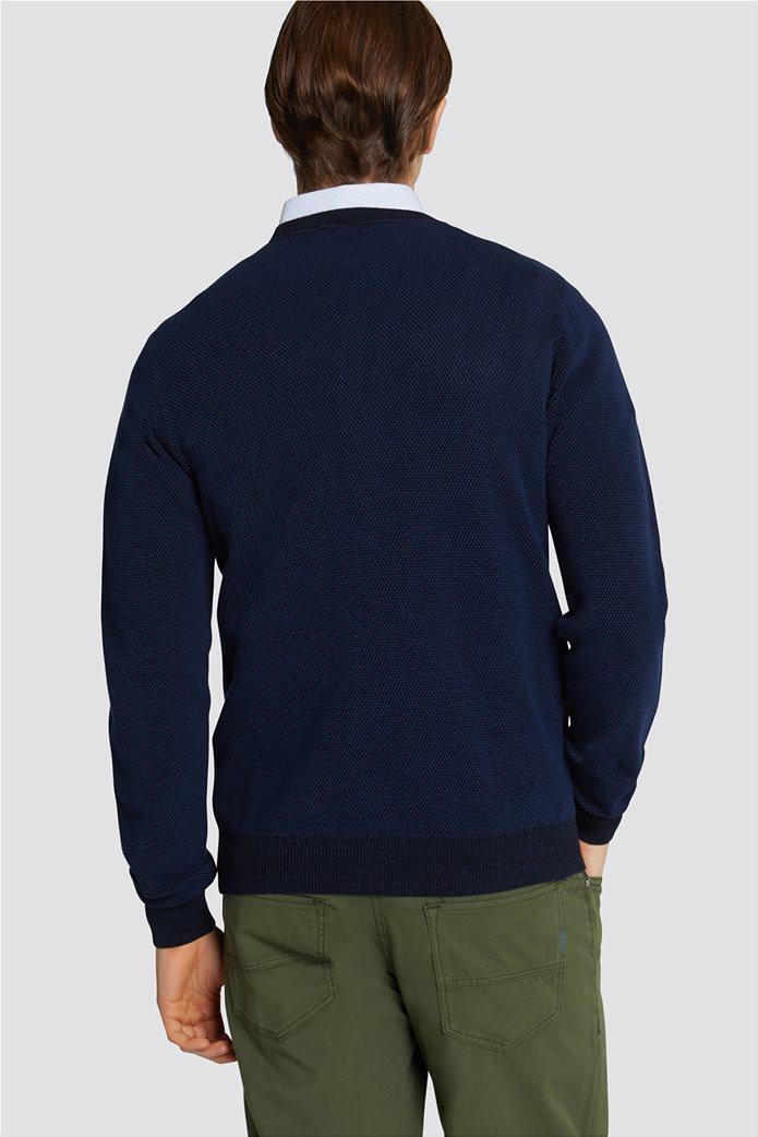 Trussardi Jeans ανδρική μακρυμάνικη μπλεκτή μπλούζα με ανάγλυφη πλέξη 1