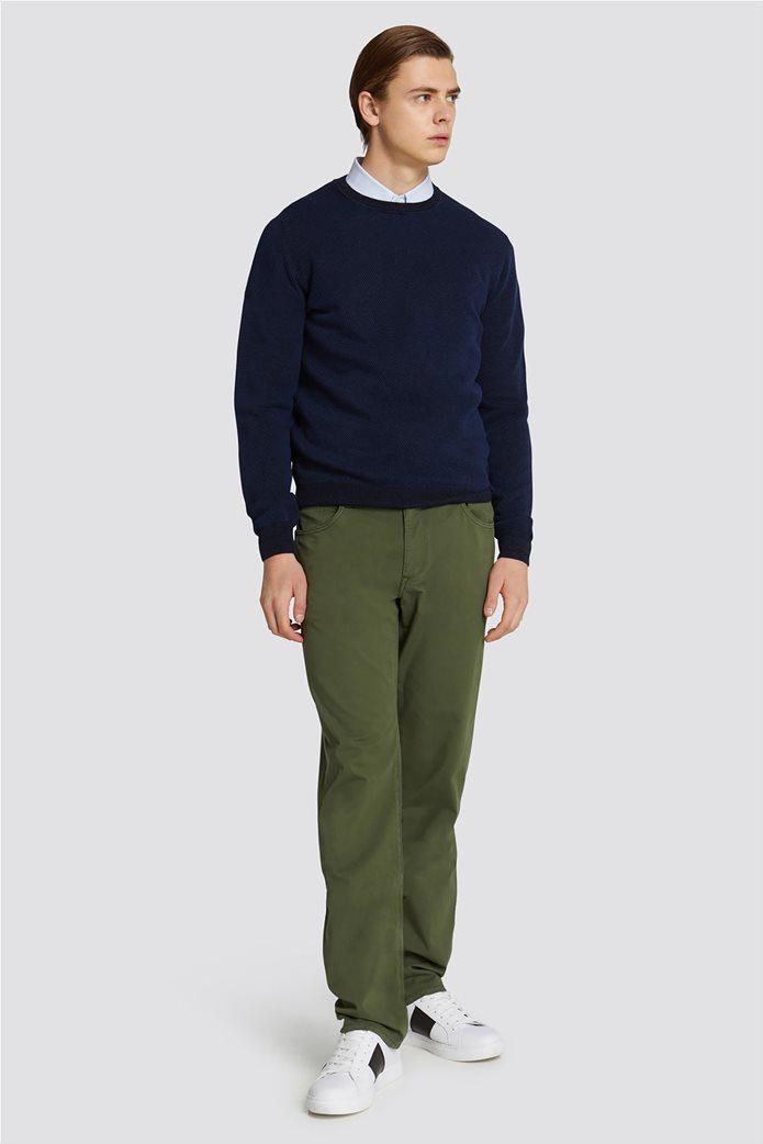 Trussardi Jeans ανδρική μακρυμάνικη μπλεκτή μπλούζα με ανάγλυφη πλέξη 2