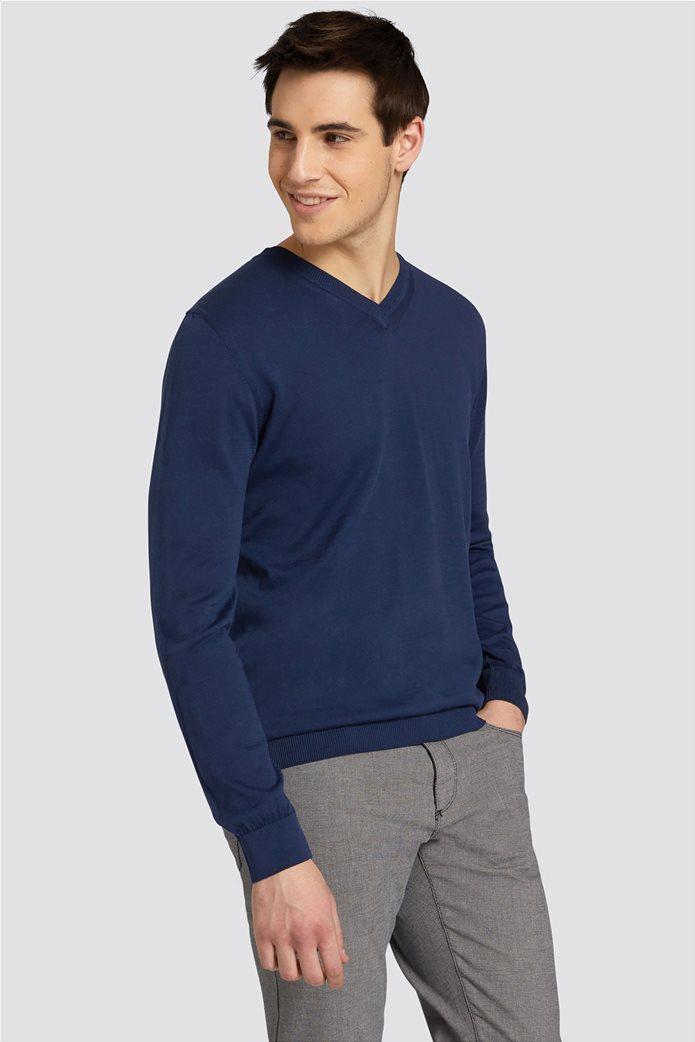 Trussardi Jeans ανδρική μακρυμάνικη μπλεκτή μπλούζα με λαιμόκοψη V 0