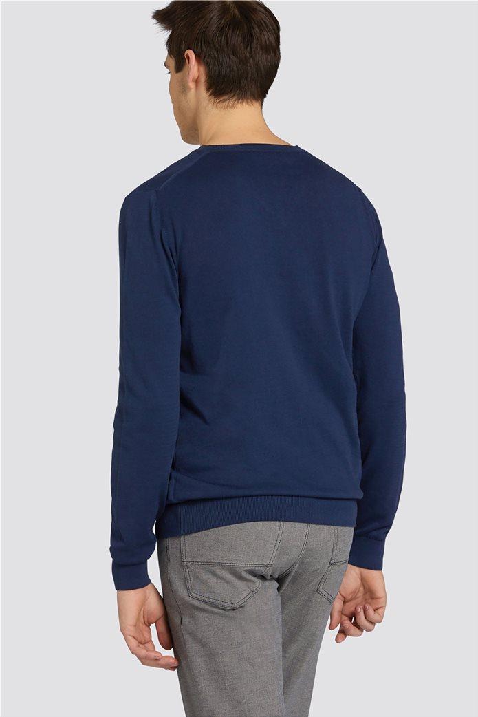Trussardi Jeans ανδρική μακρυμάνικη μπλεκτή μπλούζα με λαιμόκοψη V 1
