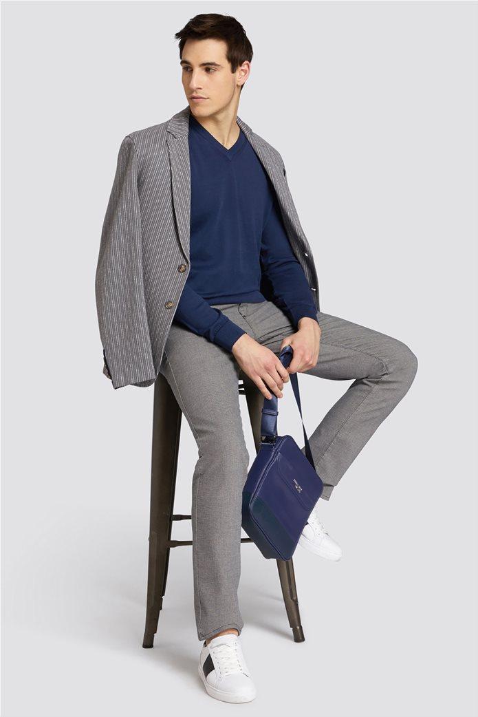 Trussardi Jeans ανδρική μακρυμάνικη μπλεκτή μπλούζα με λαιμόκοψη V 2