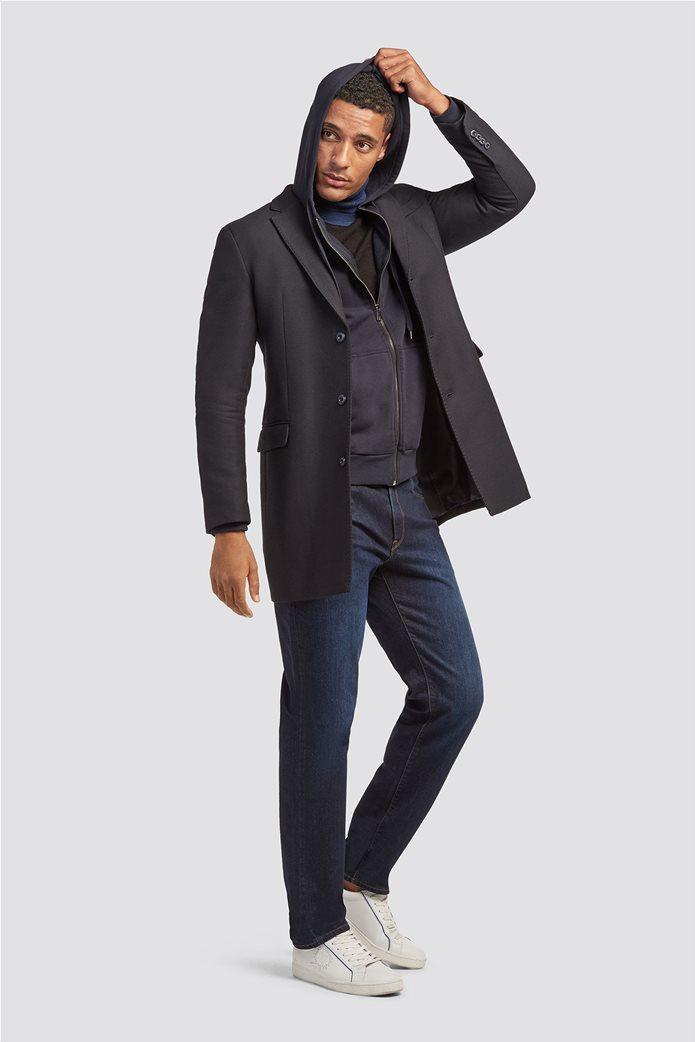 Trussardi Jeans ανδρικό παλτό με διαγώνια ύφανση 2