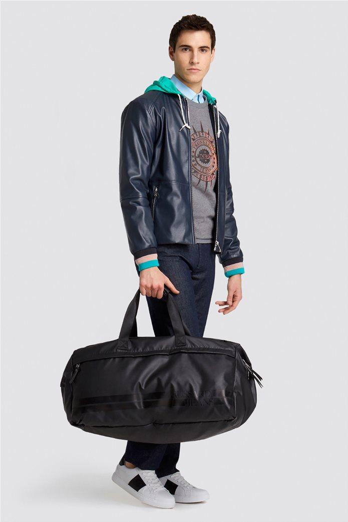 Trussardi Jeans ανδρικό μπουφάν από faux leather με κουκούλα 0