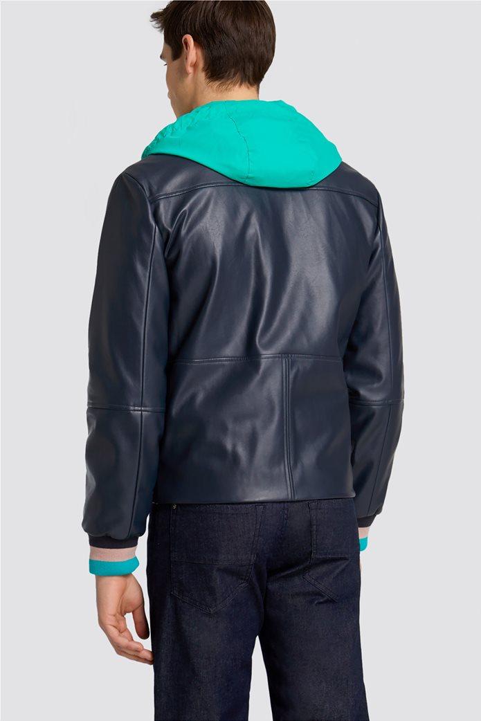 Trussardi Jeans ανδρικό μπουφάν από faux leather με κουκούλα 2