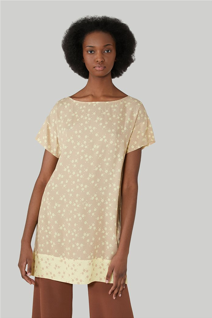 Trussardi Jeans γυναικεία κοντομάνικη μπλούζα με floral print 0