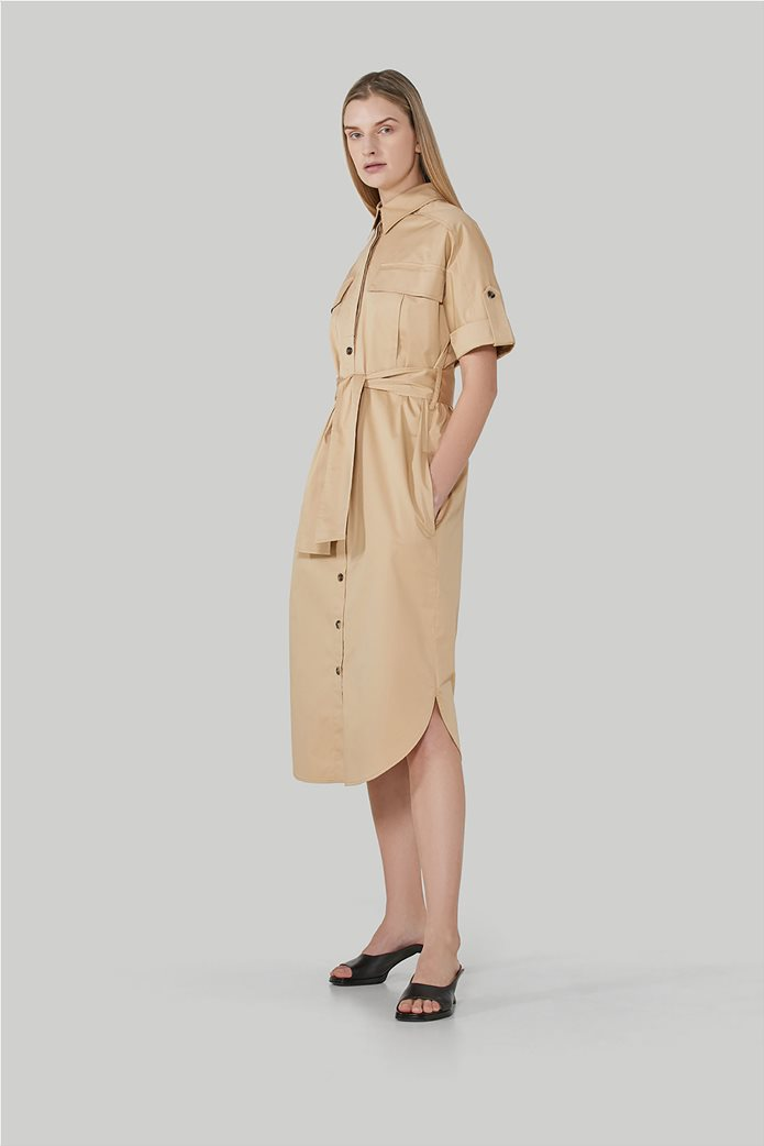 Trussardi Jeans γυναικείο midi φόρεμα σεμιζιέ με τσέπες και ζωνάκι 1