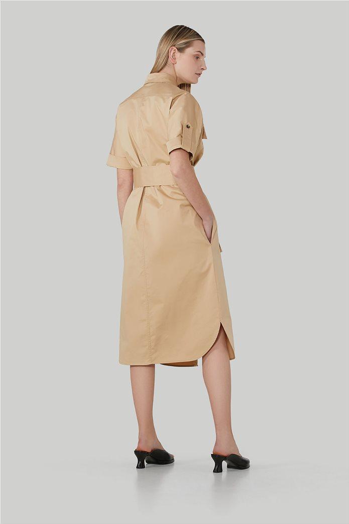 Trussardi Jeans γυναικείο midi φόρεμα σεμιζιέ με τσέπες και ζωνάκι 2