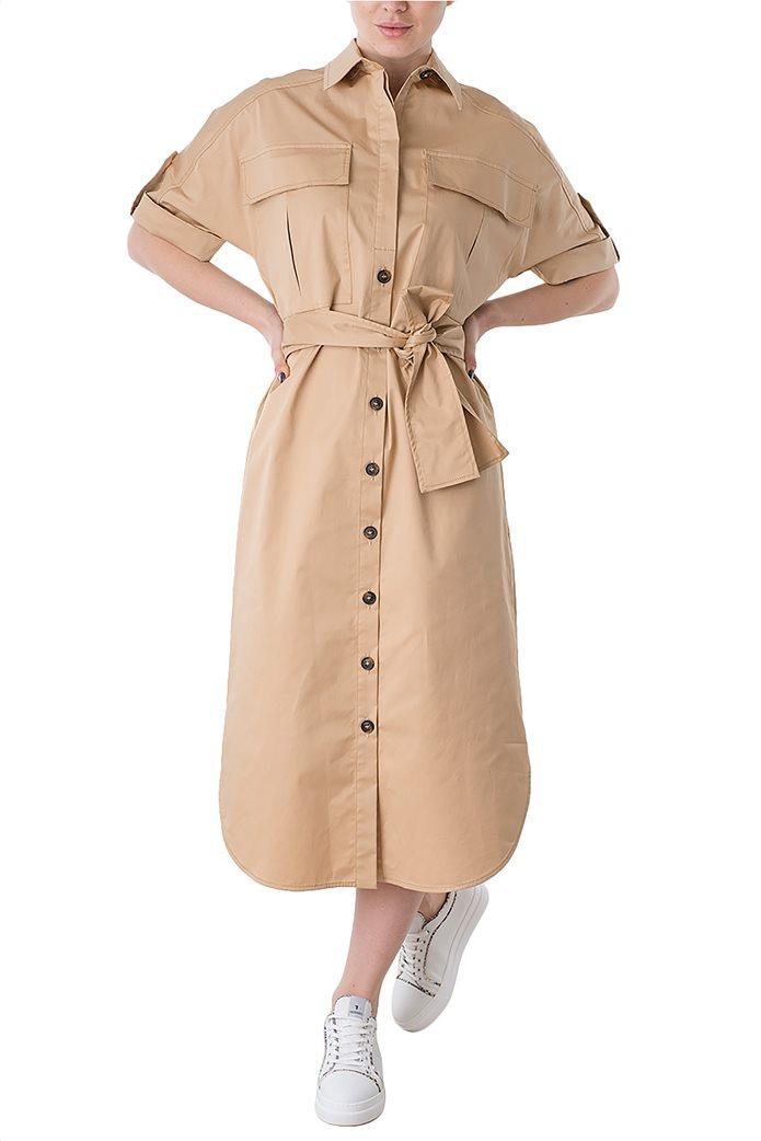 Trussardi Jeans γυναικείο midi φόρεμα σεμιζιέ με τσέπες και ζωνάκι 3