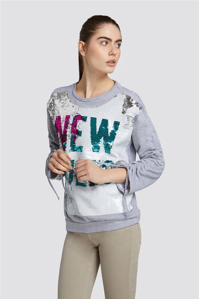 fc7ef12a5b8 TRUSSARDI JEANS | Trussardi Jeans γυναικείo φούτερ με παγιέτες Γκρι | notos