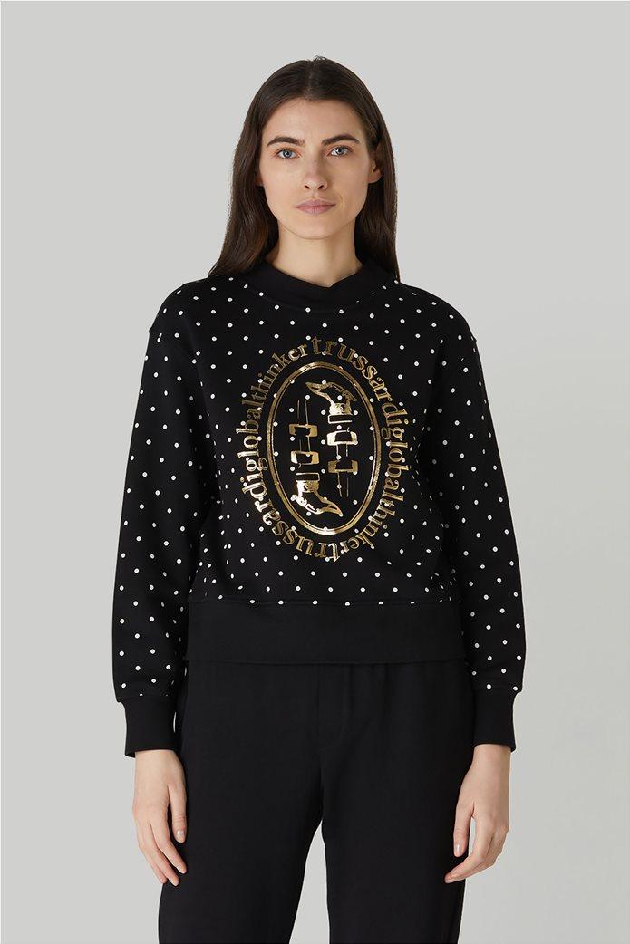 Trussardi Jeans γυναικείο φούτερ πουά με μεταλλιζέ print Μαύρο 0