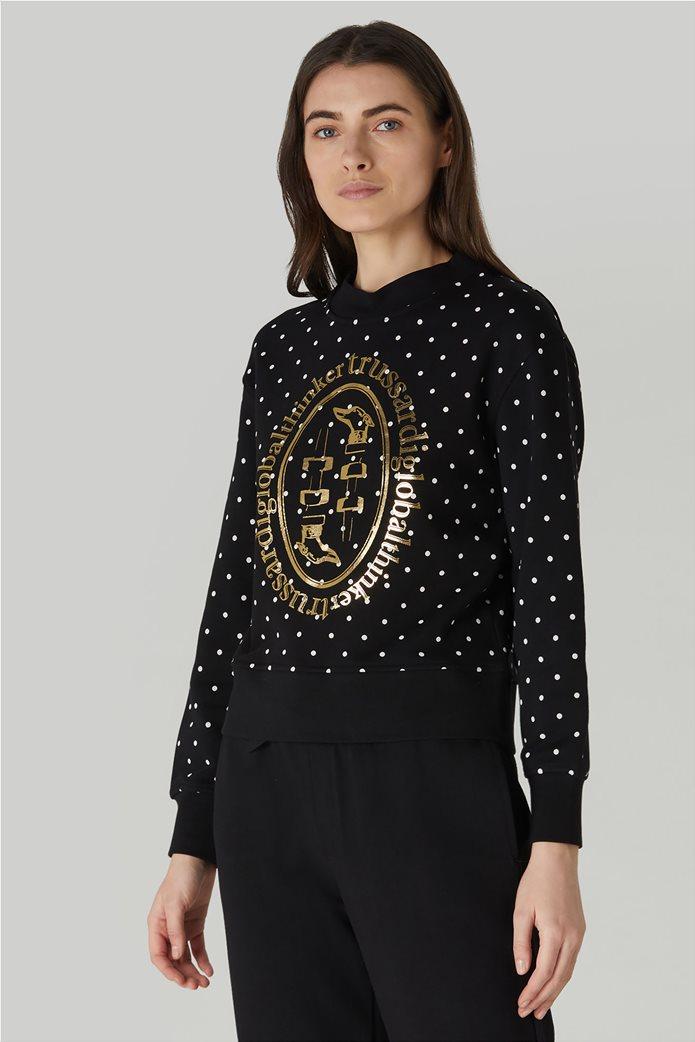 Trussardi Jeans γυναικείο φούτερ πουά με μεταλλιζέ print Μαύρο 1