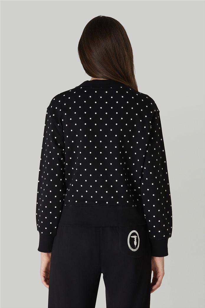 Trussardi Jeans γυναικείο φούτερ πουά με μεταλλιζέ print Μαύρο 2