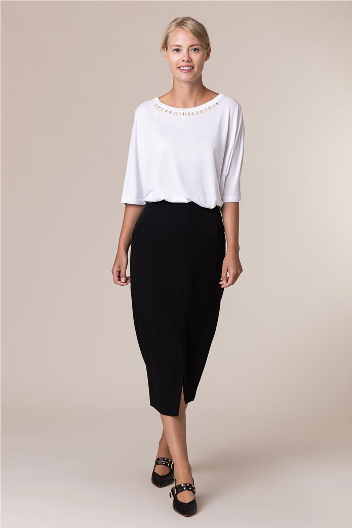 Trussardi Jeans γυναικεία midi φούστα μονόχρωμη με άνοιγμα στο μπροστινό μέρος Μαύρο 0
