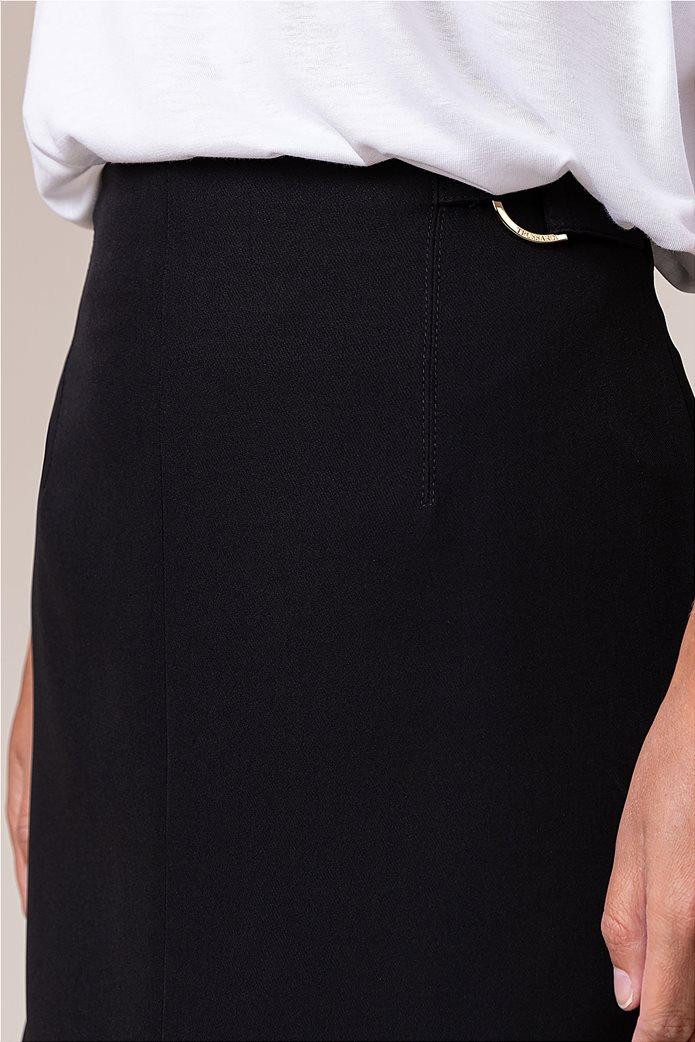 Trussardi Jeans γυναικεία midi φούστα μονόχρωμη με άνοιγμα στο μπροστινό μέρος Μαύρο 3