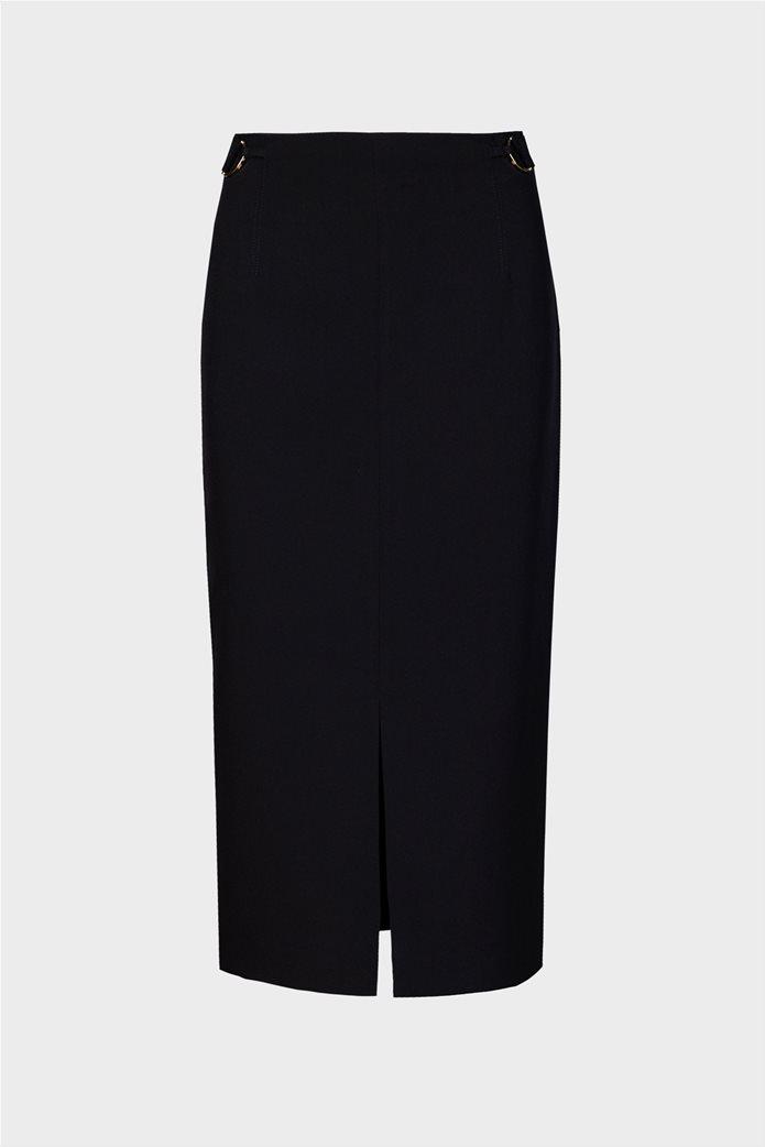 Trussardi Jeans γυναικεία midi φούστα μονόχρωμη με άνοιγμα στο μπροστινό μέρος Μαύρο 4