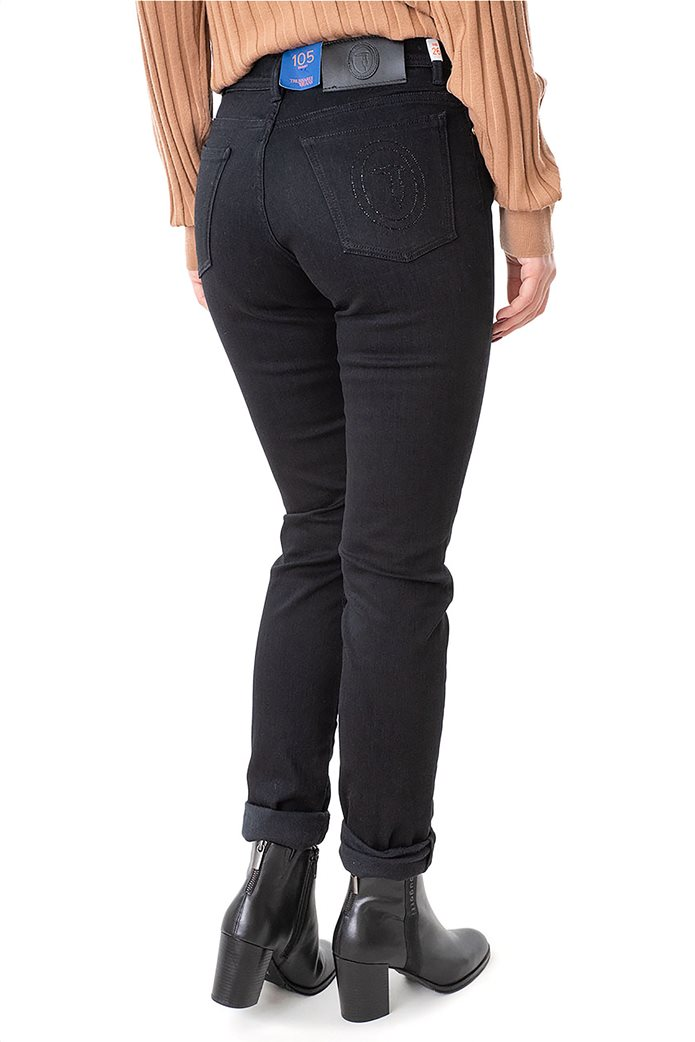 Trussardi Jeans γυναικείο τζην παντελόνι πεντάτσεπο με logo print 2