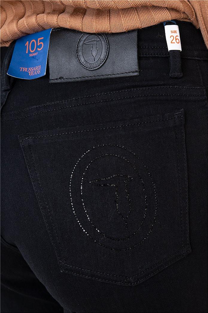 Trussardi Jeans γυναικείο τζην παντελόνι πεντάτσεπο με logo print 4