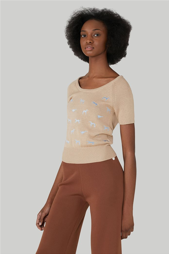 Trussardi Jeans γυναικεία πλεκτή μπλούζα κοντομάνικη με κεντημένα σχέδια 0