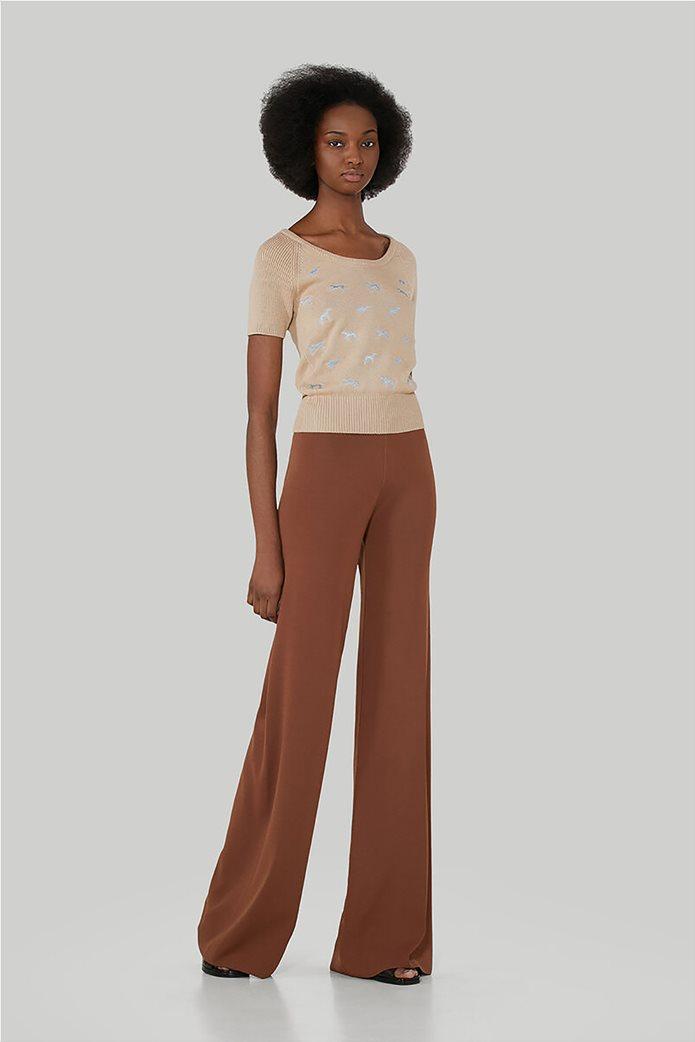 Trussardi Jeans γυναικεία πλεκτή μπλούζα κοντομάνικη με κεντημένα σχέδια 1