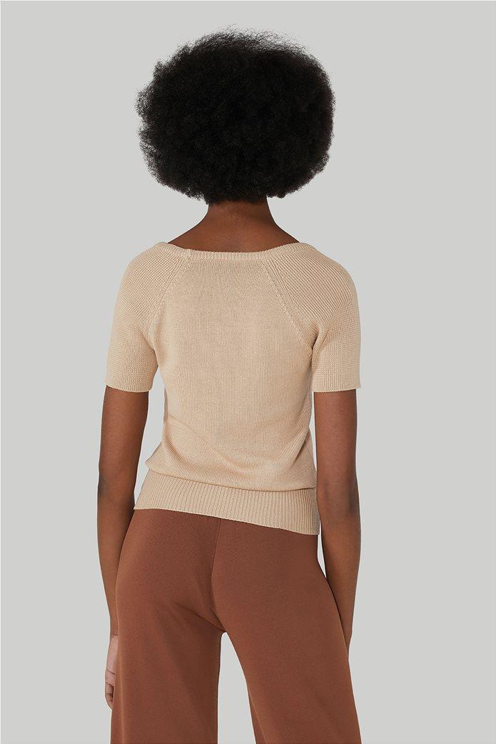 Trussardi Jeans γυναικεία πλεκτή μπλούζα κοντομάνικη με κεντημένα σχέδια 2