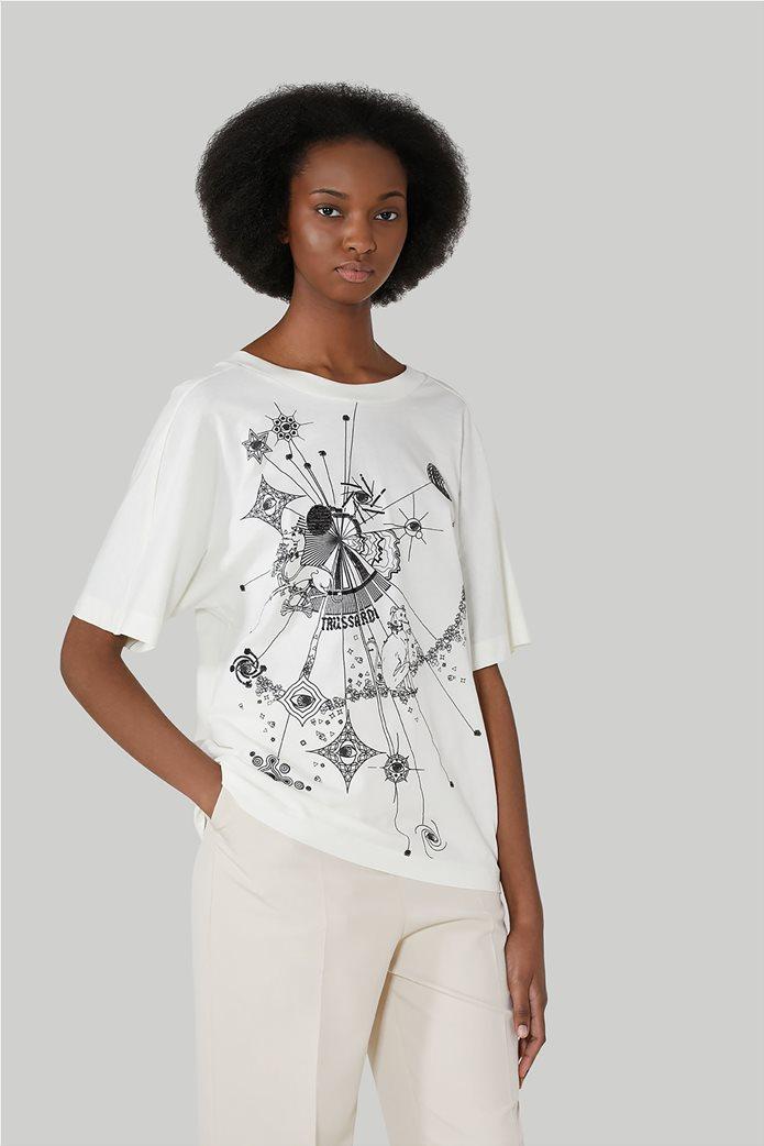 Trussardi Jeans γυναικεία κοντομάνικη μπλούζα με print 0
